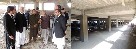 چیئرمین ڈیڈک فضل حکیم خان کا تعمیرہونے والے وکلاء چیمبر اور کارپارکنگ کا معائینہ ، کام تیز کرنے کا مطالبہ