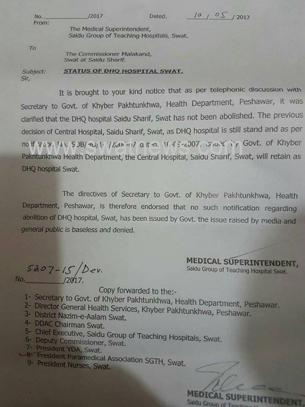 Health Ministry Of KP  reintegrated the Head Quarter Hospital of Swat