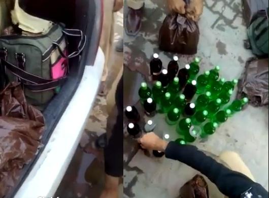 موٹر کار میں چھائے گئے دیسی شراب کی بوتلیں برامد، ملزم گرفتار