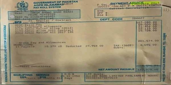 وزیر اعظم عمران خان کتنا تنخواہ لیتے ہیں، پے سلف سامنے آگئی
