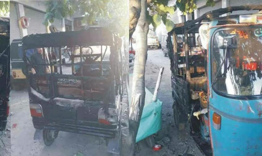 مینگورہ میں نامعلوم افراد نے ٹو سٹروک رکشہ کو اگ لگادی