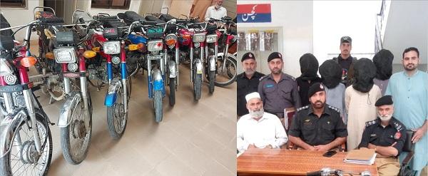 رحیم آباد پولیس کی کامیاب کاروائی موٹر سائیکل چورگینگ گرفتار، 10موٹر سائیکل برآمد
